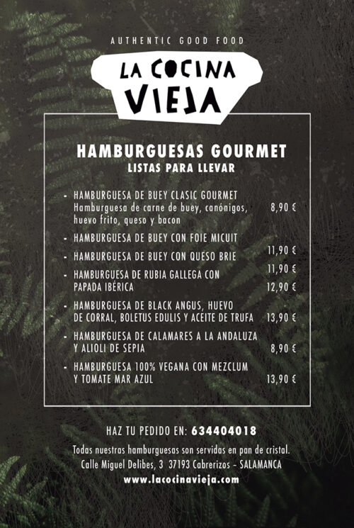 carta hamburguesas gourmet